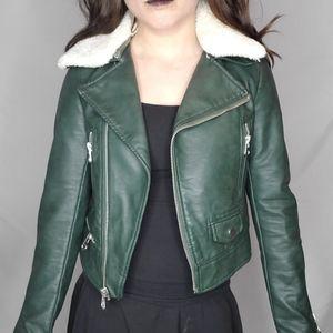 2/$100   Zara green faux leather coat